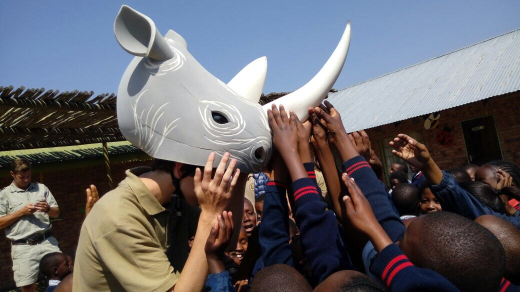 """Mr. Rhino"" at a local school"