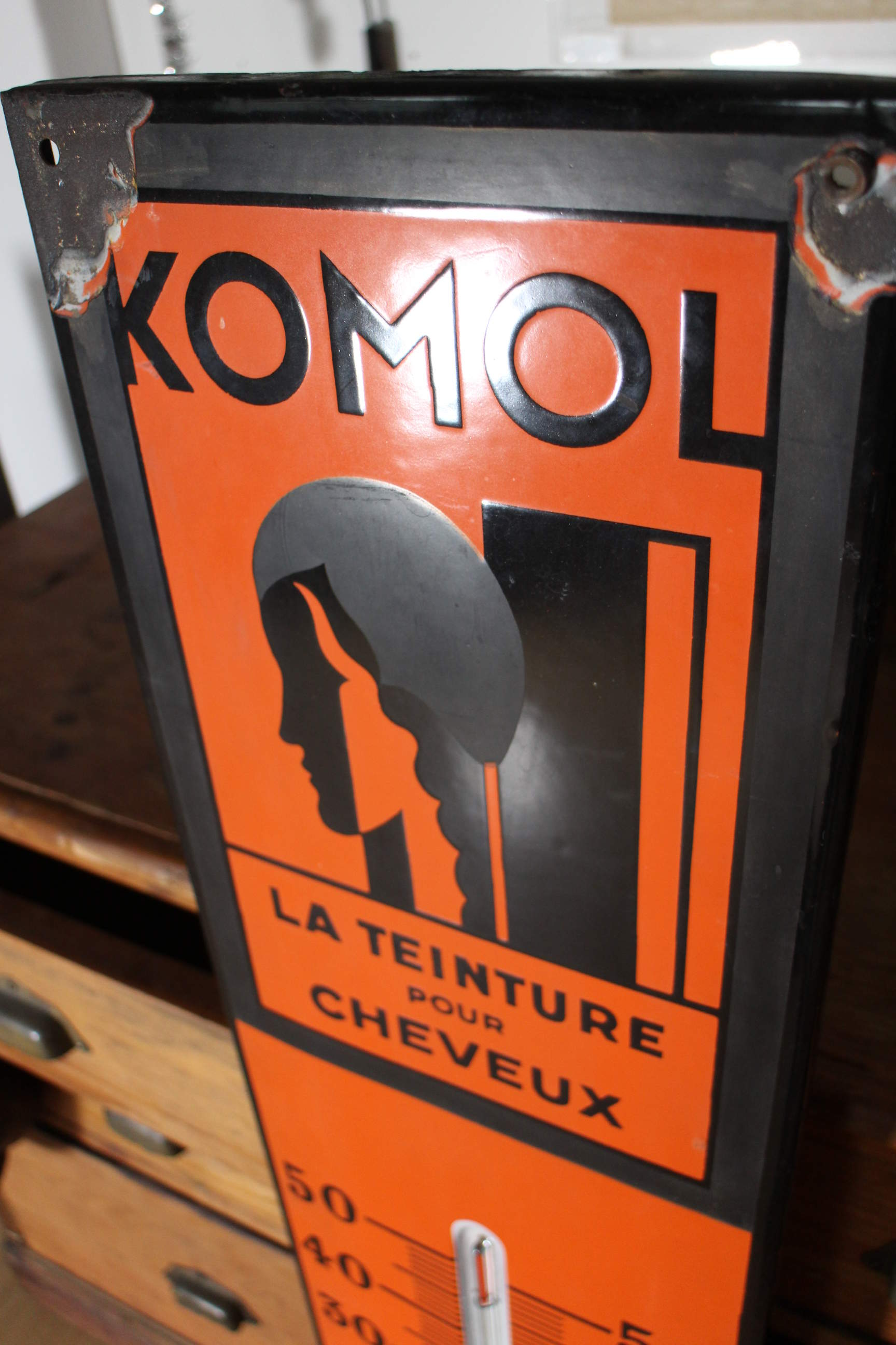Komol Thermometer aus Emaille