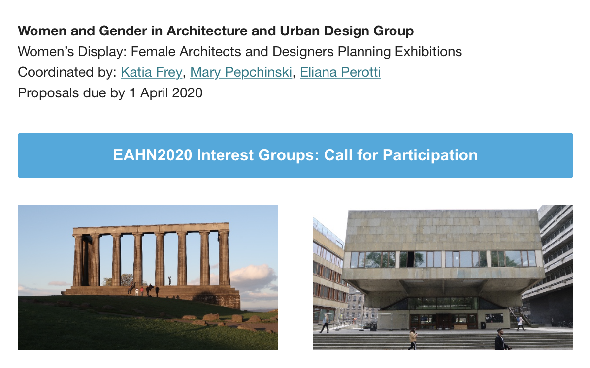 "EAHN 2021: Workshop ""Women's Display. Female Architects and Designers Planning Exhibitions"""