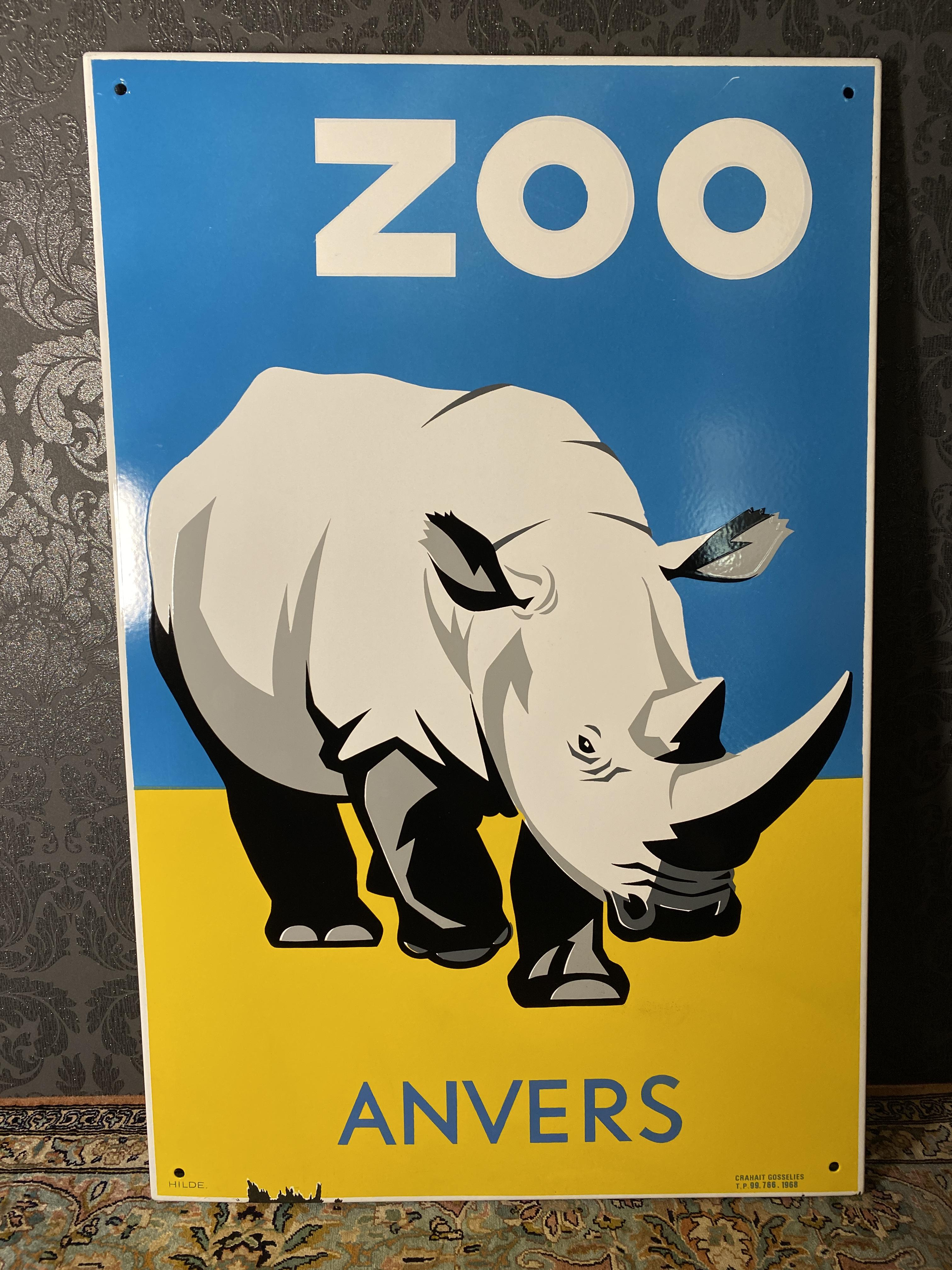 Altes Emailschild Nashorn Zoo Anvers um 1968