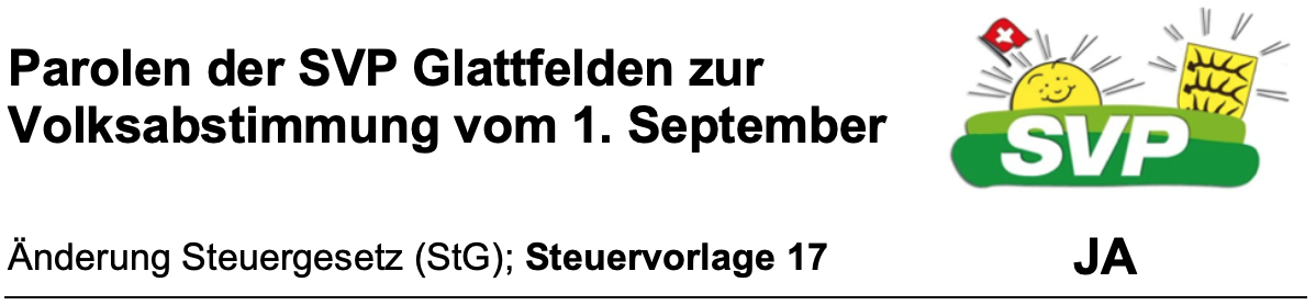 Parolen der SVP Glattfelden - 1. September 2019