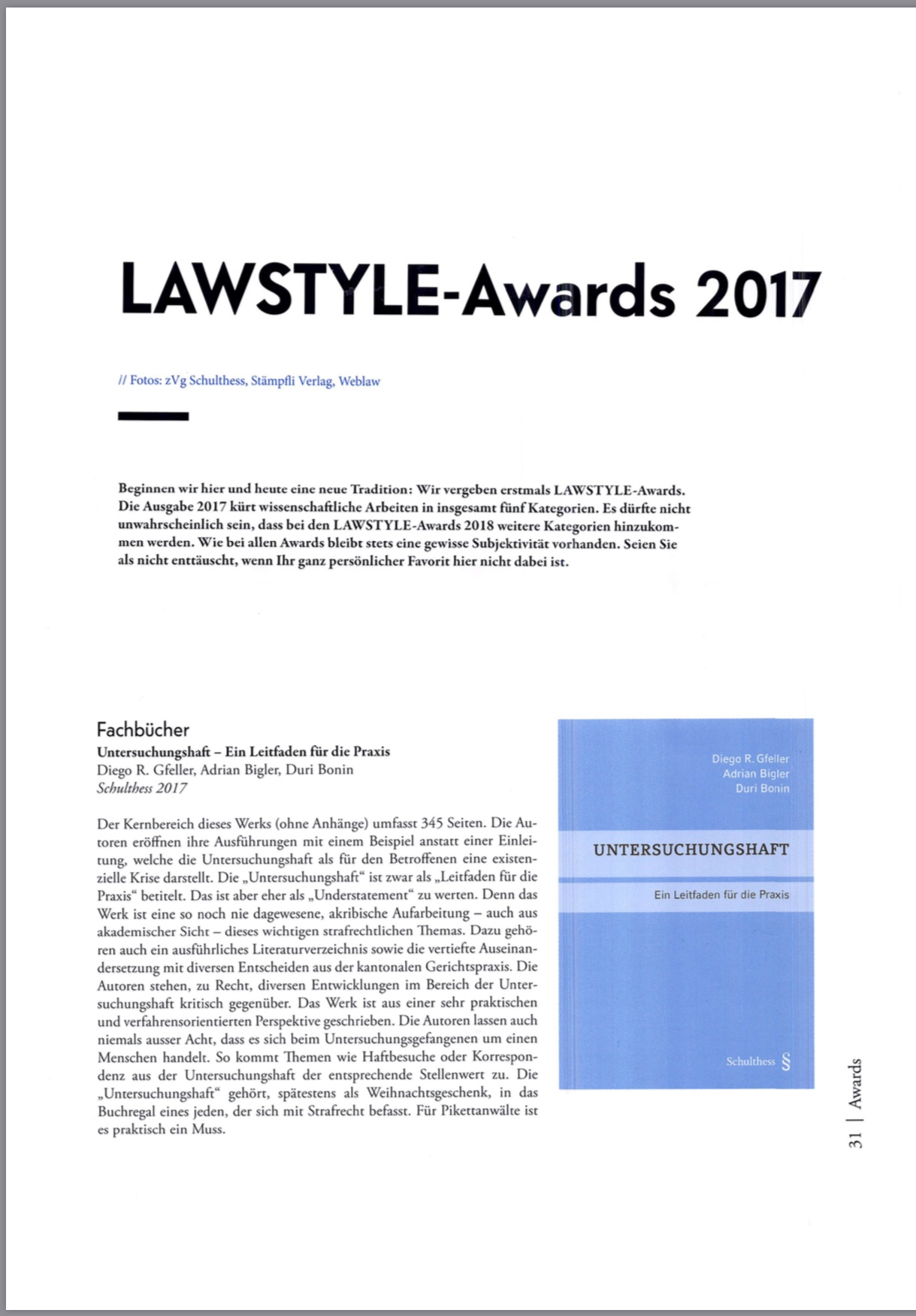 Lawstyle Award: Fachbuch des Jahres 2017