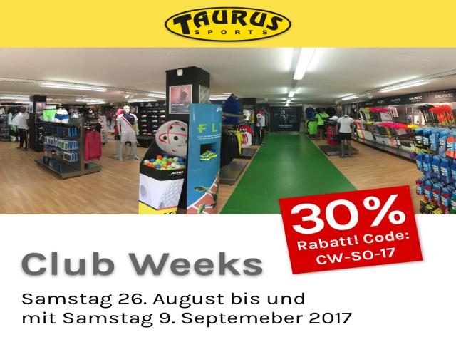 Taurus Club Weeks Samstag 26. August - 9. September 2017