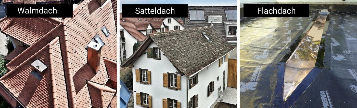 verschiedenen Formen von Dcher Flachdach mit Flssigkunstofff und Kalplastik sanieren renovieren Dcher aller Art Proof Zrich-minjpg