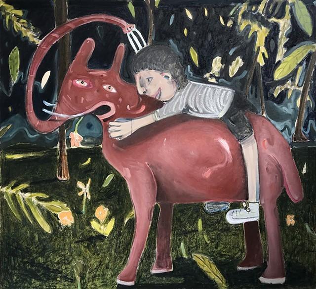 The pink elephant 130x140cmjpg