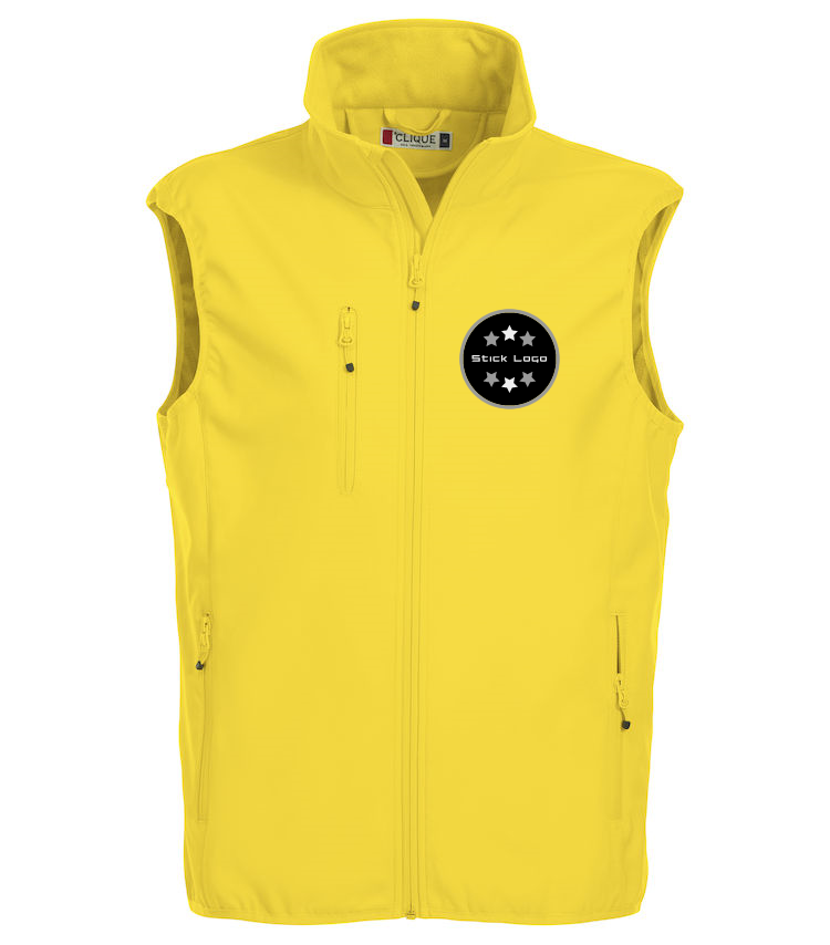 Herren Softshell Weste CLIQUE Basic 020911 Lemon 10 mit Stickerei