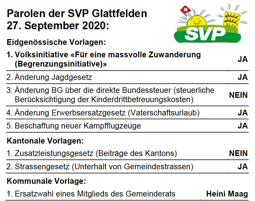 Parolen der SVP Glattfelden - 27. September 2020