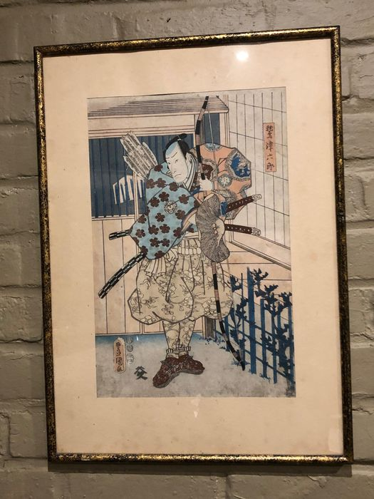 Original Holzschnitt - Kabuki actor in the role of Washi (Eagle) Tsurokuro 鷲津六郎 - 1853 - Japan
