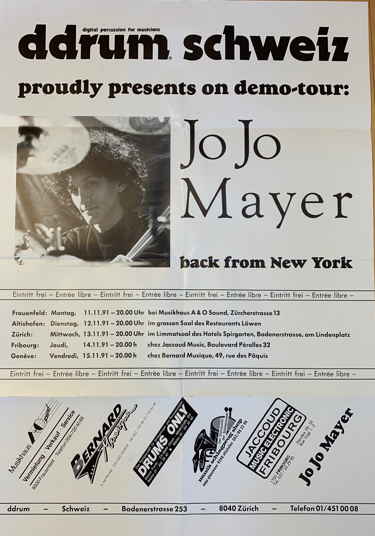 Foto-Poster-Jojo Mayerlive on ddrum demo tour