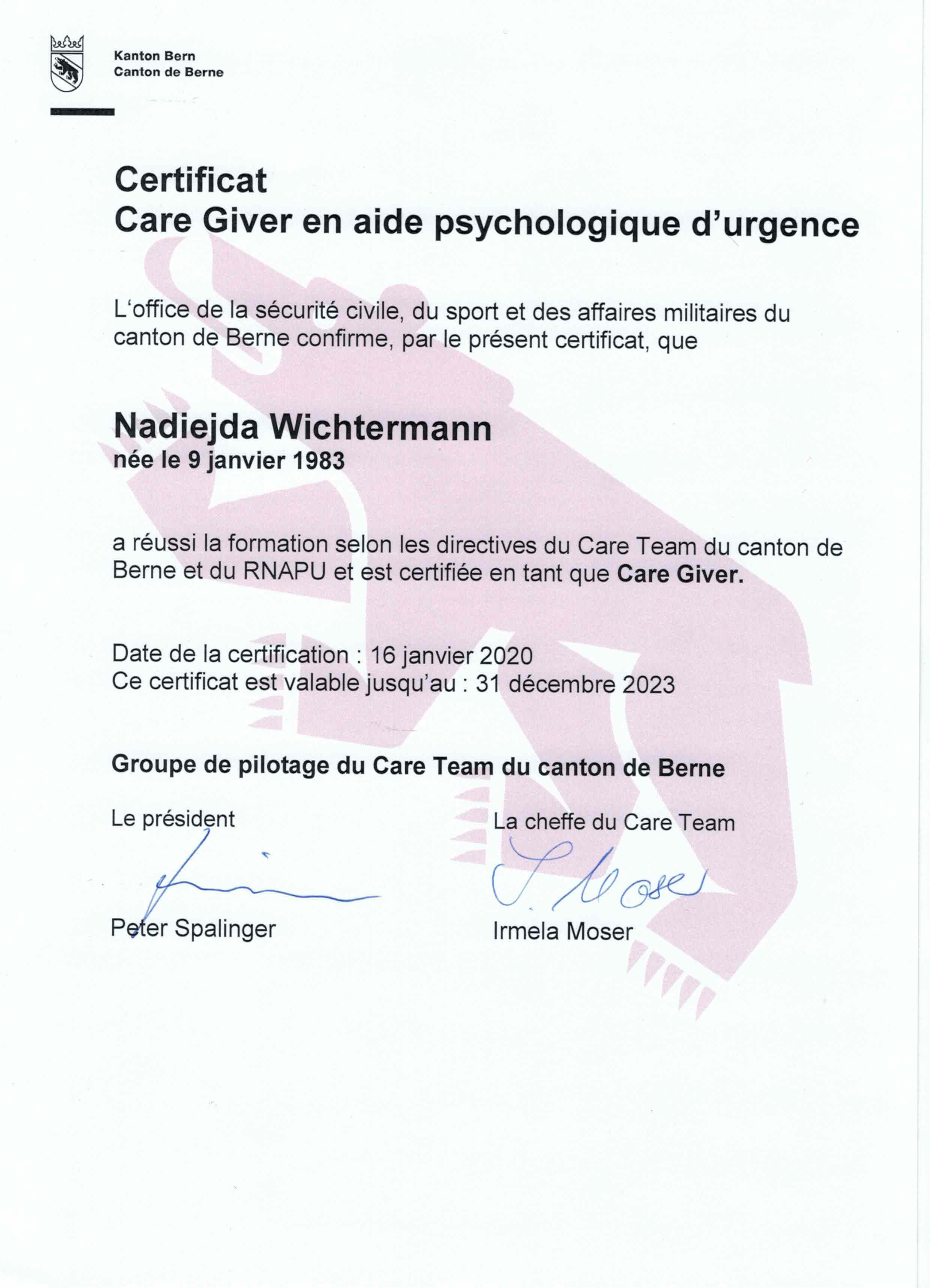 Certificat Care Giver en aide psychologique durgencejpeg