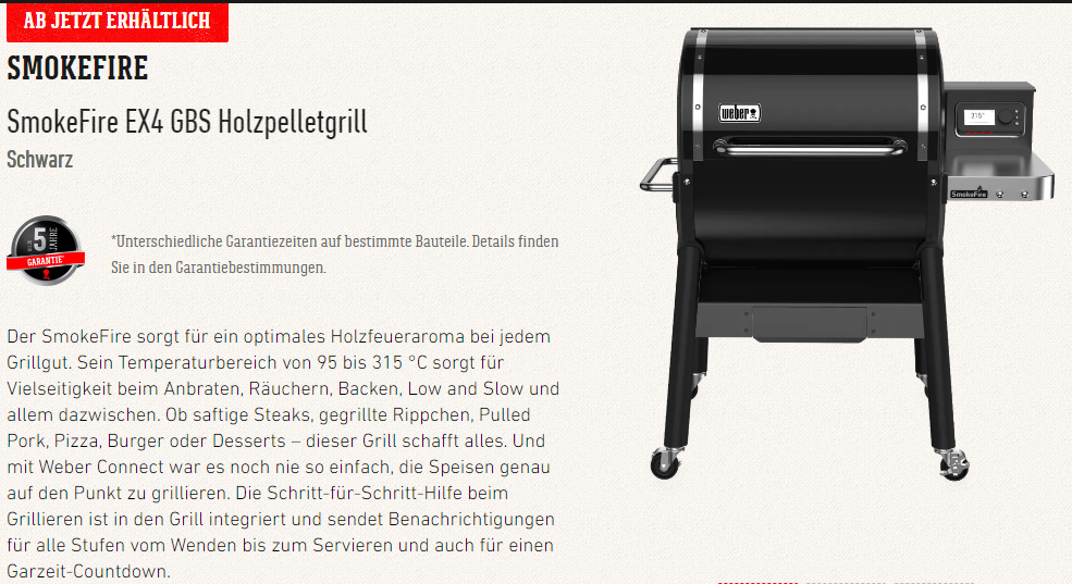 SmokeFire EX4 GBS Holzpelletgrill