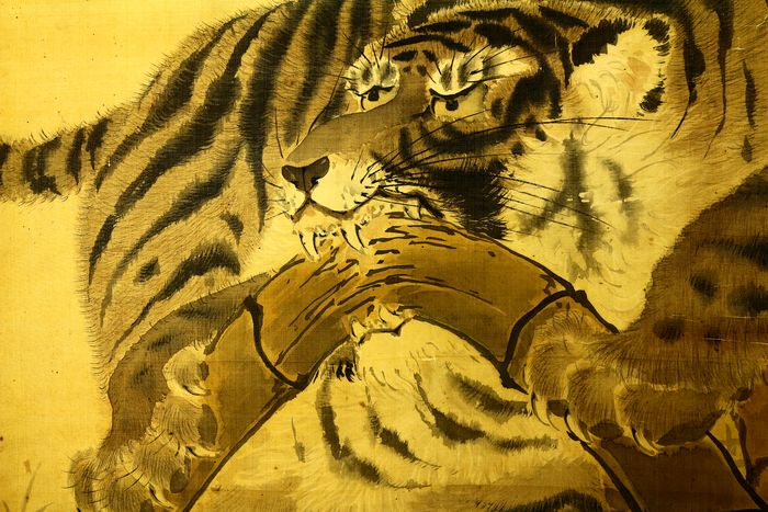 Bildrolle - Seide - Tiger - With signature and seal 'Shosai'  - Japan - um 1900 (Meiji-Zeit)