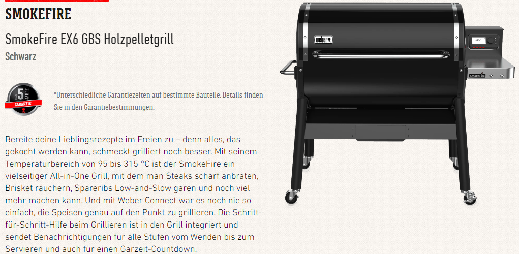 SmokeFire EX6 GBS Holzpelletgrill