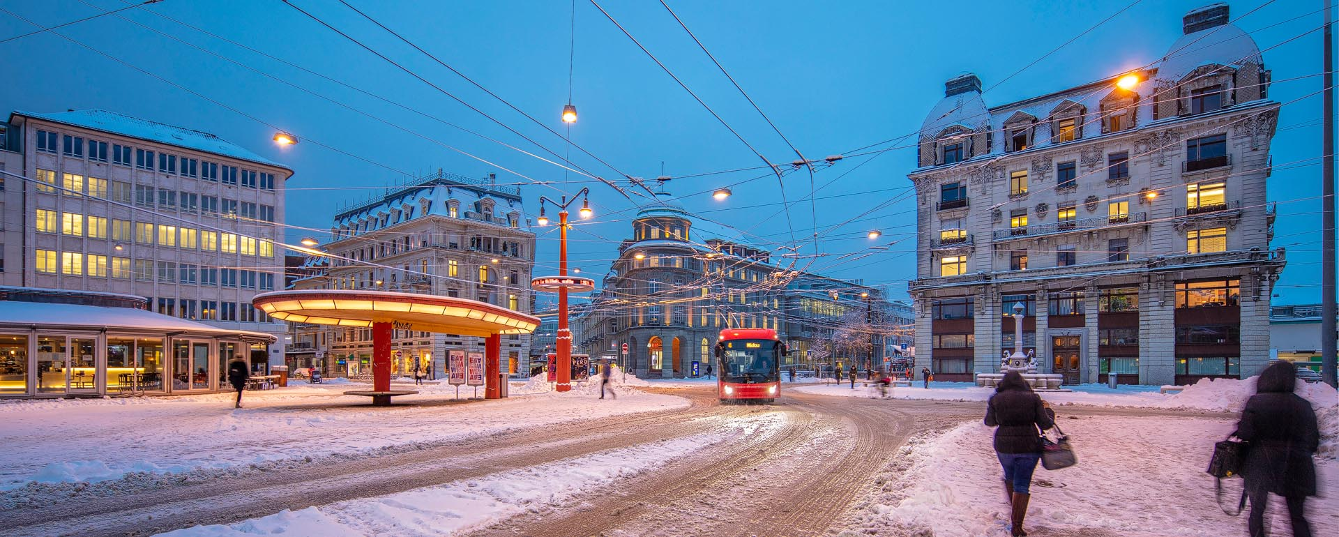 Biel-Bienne Winter am Zentralplatz