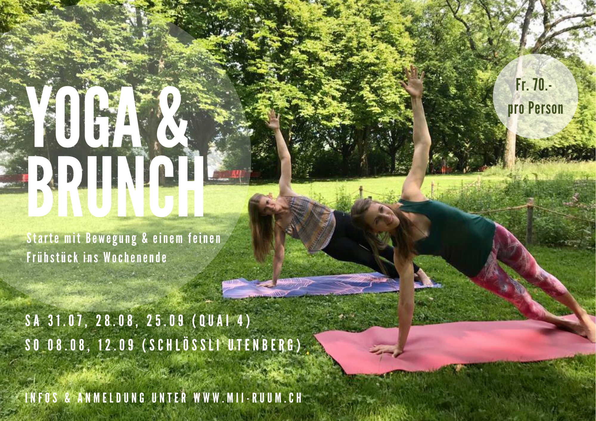 Flyer Yoga  Brunch Event Quai4 zwei Lehrpersonen fhren die Side Plank Position aus
