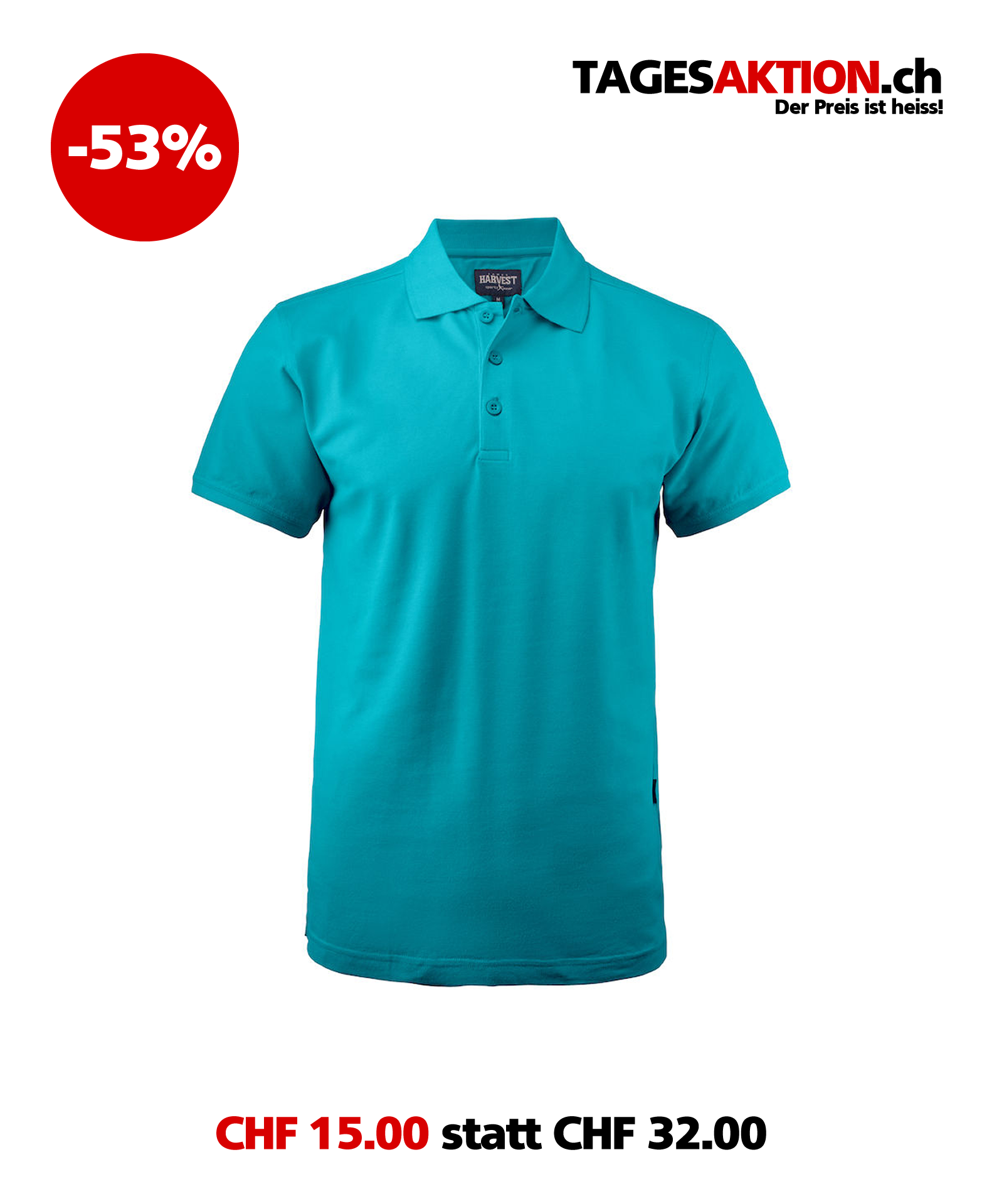 Herren Poloshirt HARVEST Morton Heights 2135025 Aqua 522