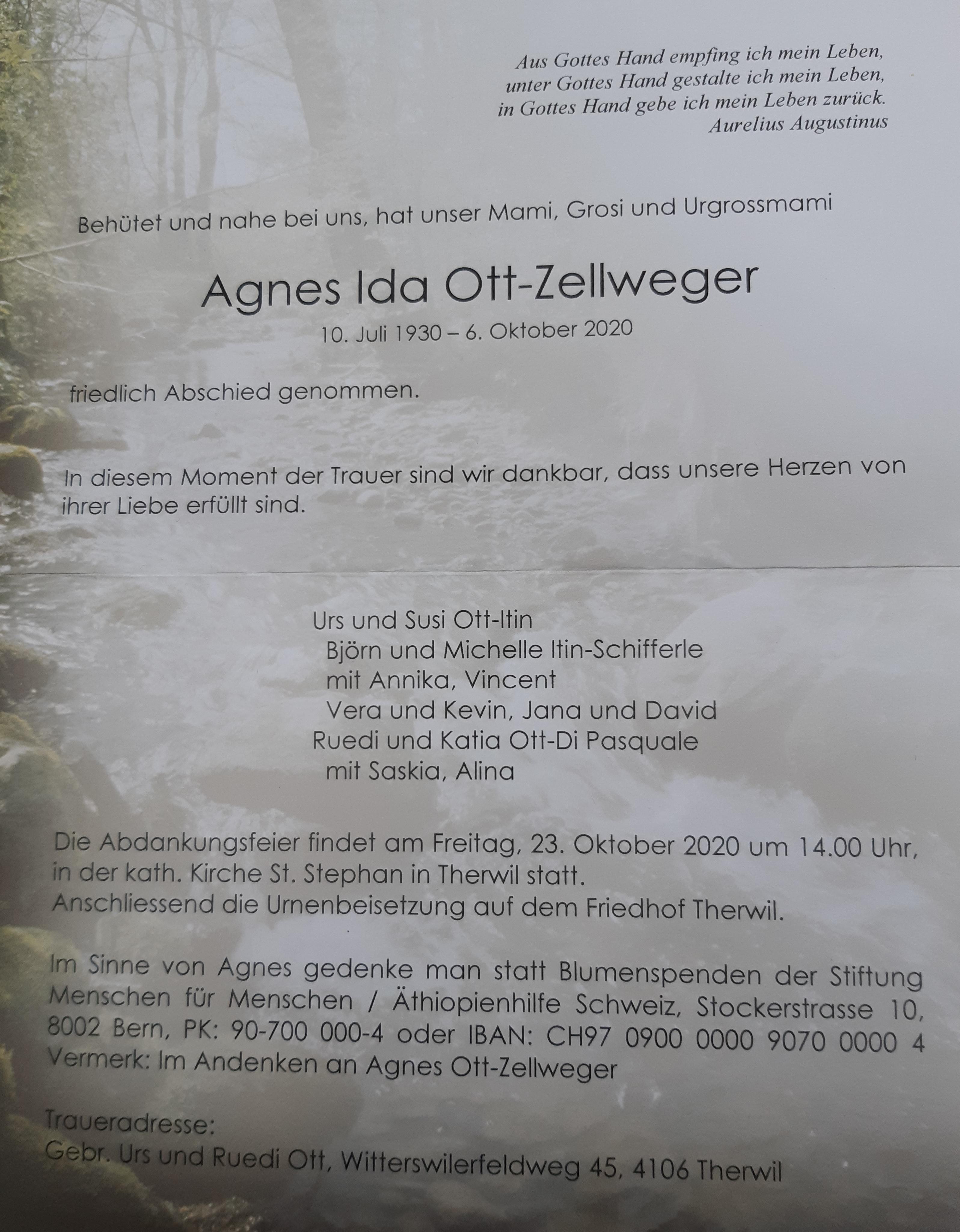 Todesanzeige Agnes Ida-Ott Zellwegerjpg