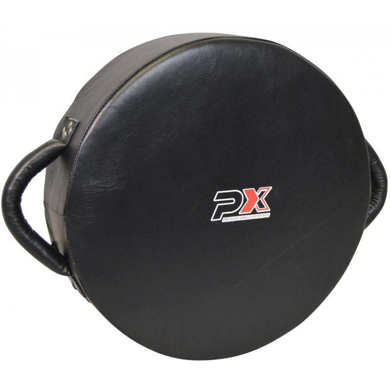 Round Coaching Punch Shield, Leder, schwarz