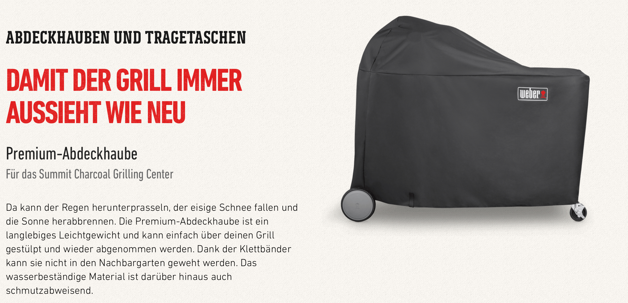 Weber Premium Abdeckhaube für Summit Charcoal Grill Center