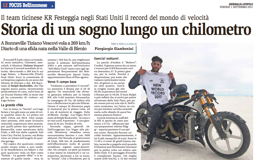 4.09.2017: First media coverage article by 'Giambo' in GIORNALE del POPOLO 1st Sep-17