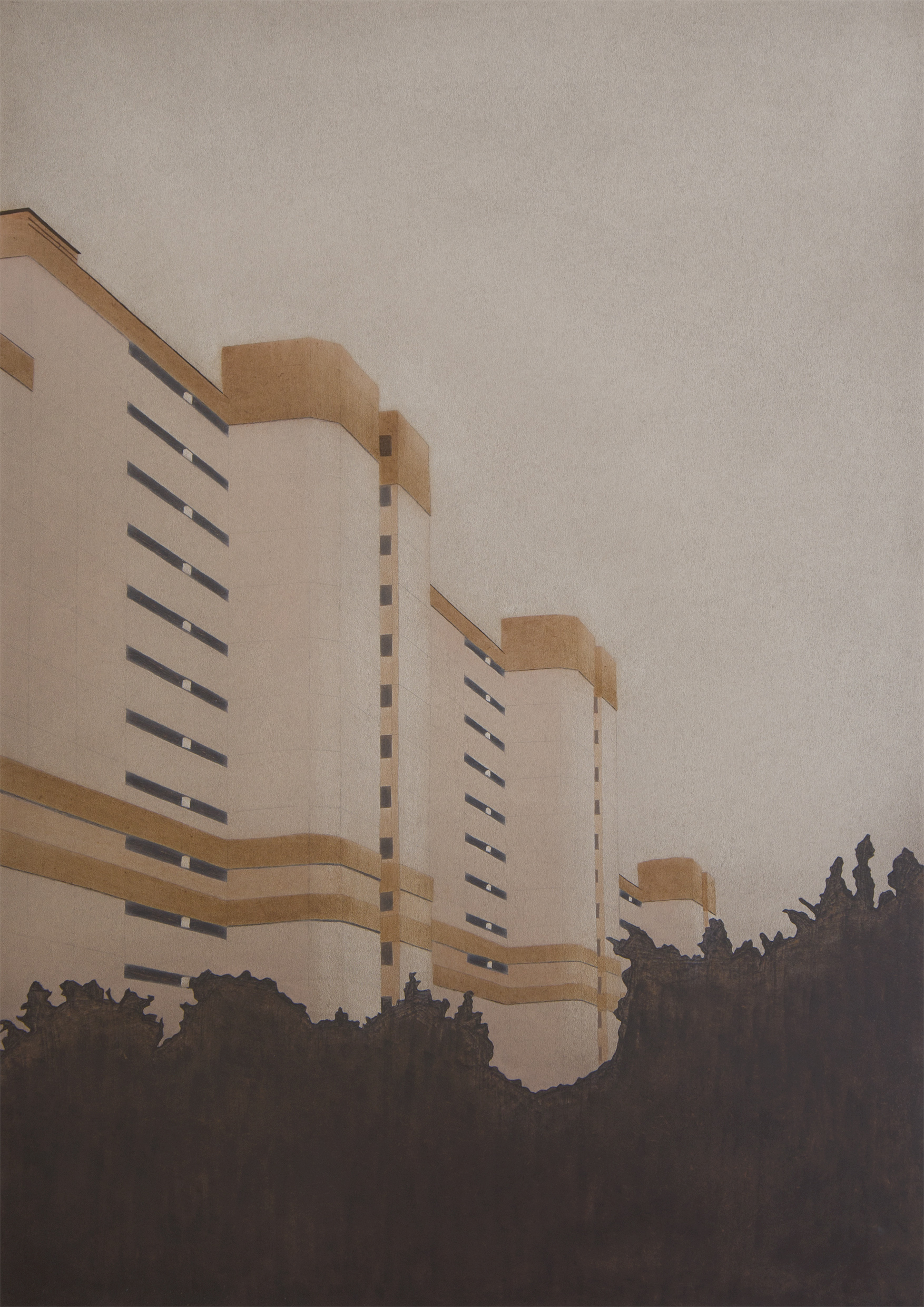 "Apartments on Arnoldgasse (Hanni's House), 2015 | oil on panel | 50x70cm (19.6""x27.5"")"