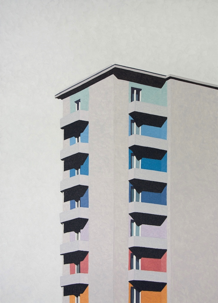 "Balconies on Wagramerstrasse, 2015 | oil on canvas | 100x140cm (39""x55"")"