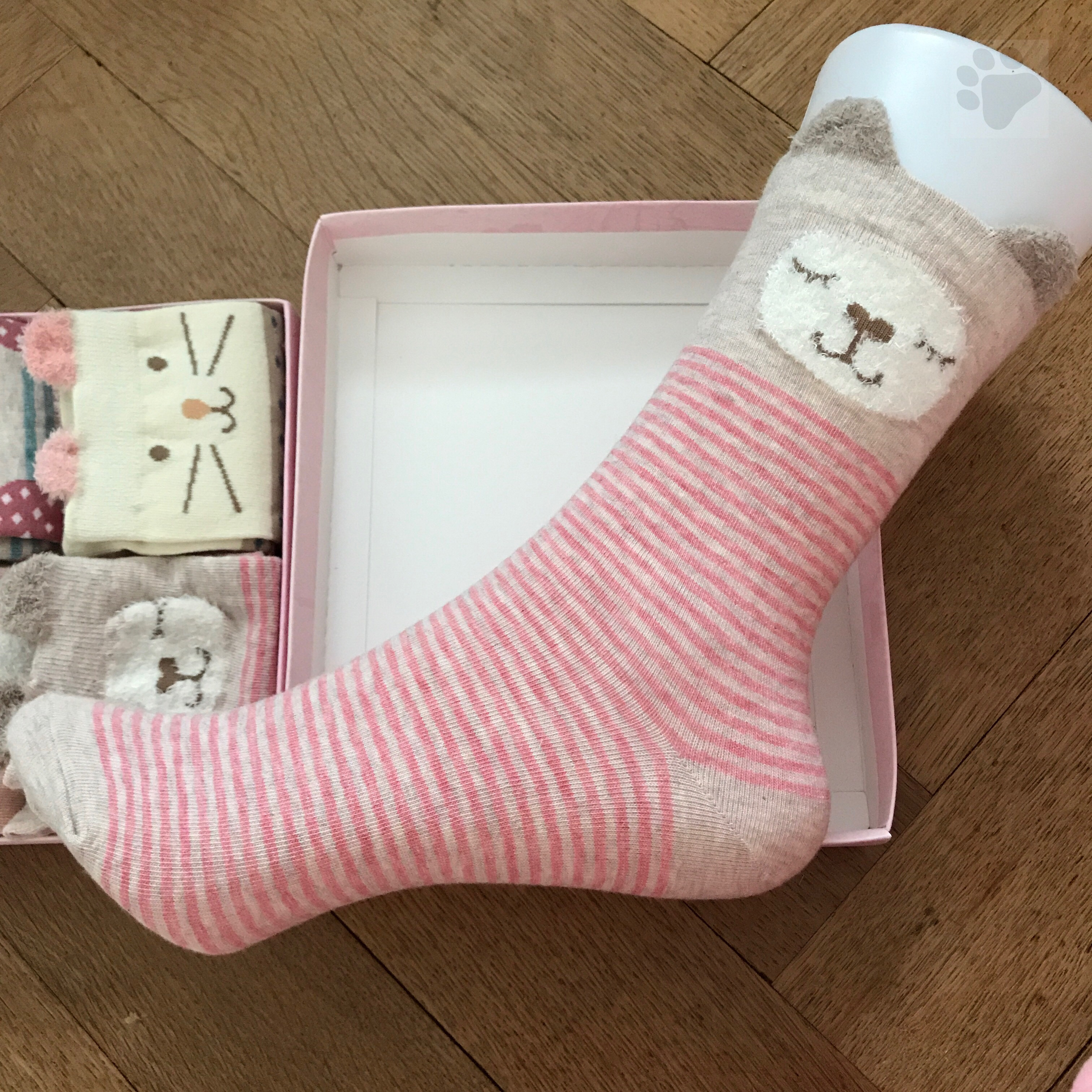 Socken Baumwolle (70%) mit Tier Muster Cartoon 4 Paare