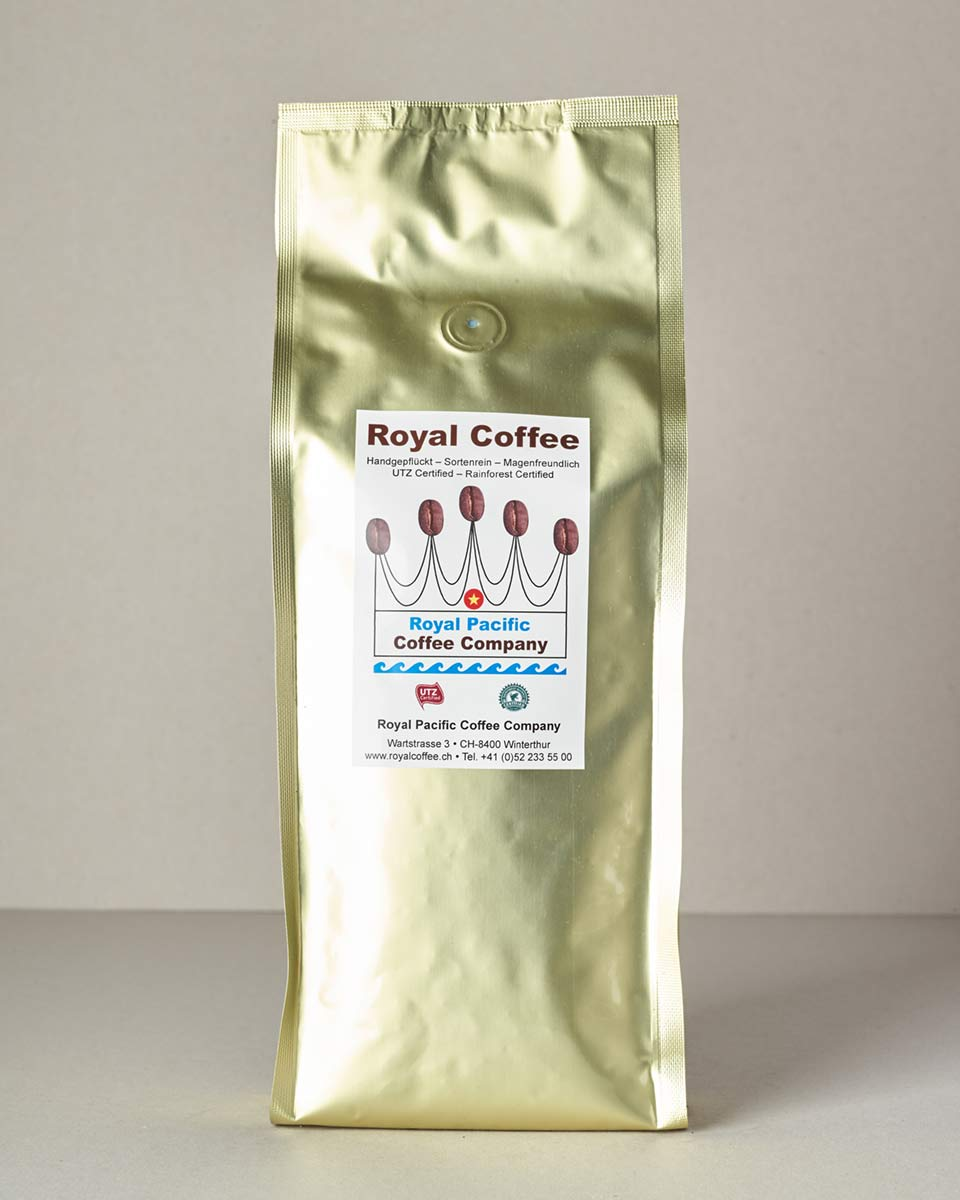 Royal Coffee Gold, 100% Robusta Vietnam, Single Origin UTZ, 500 Gramm