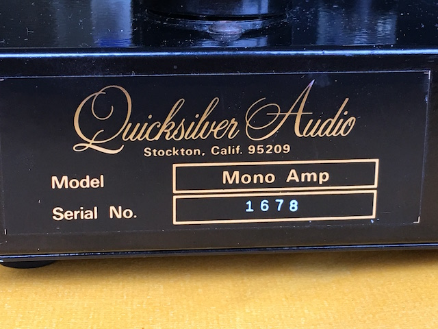 Amplifier Quicksilver Audio Mono Block
