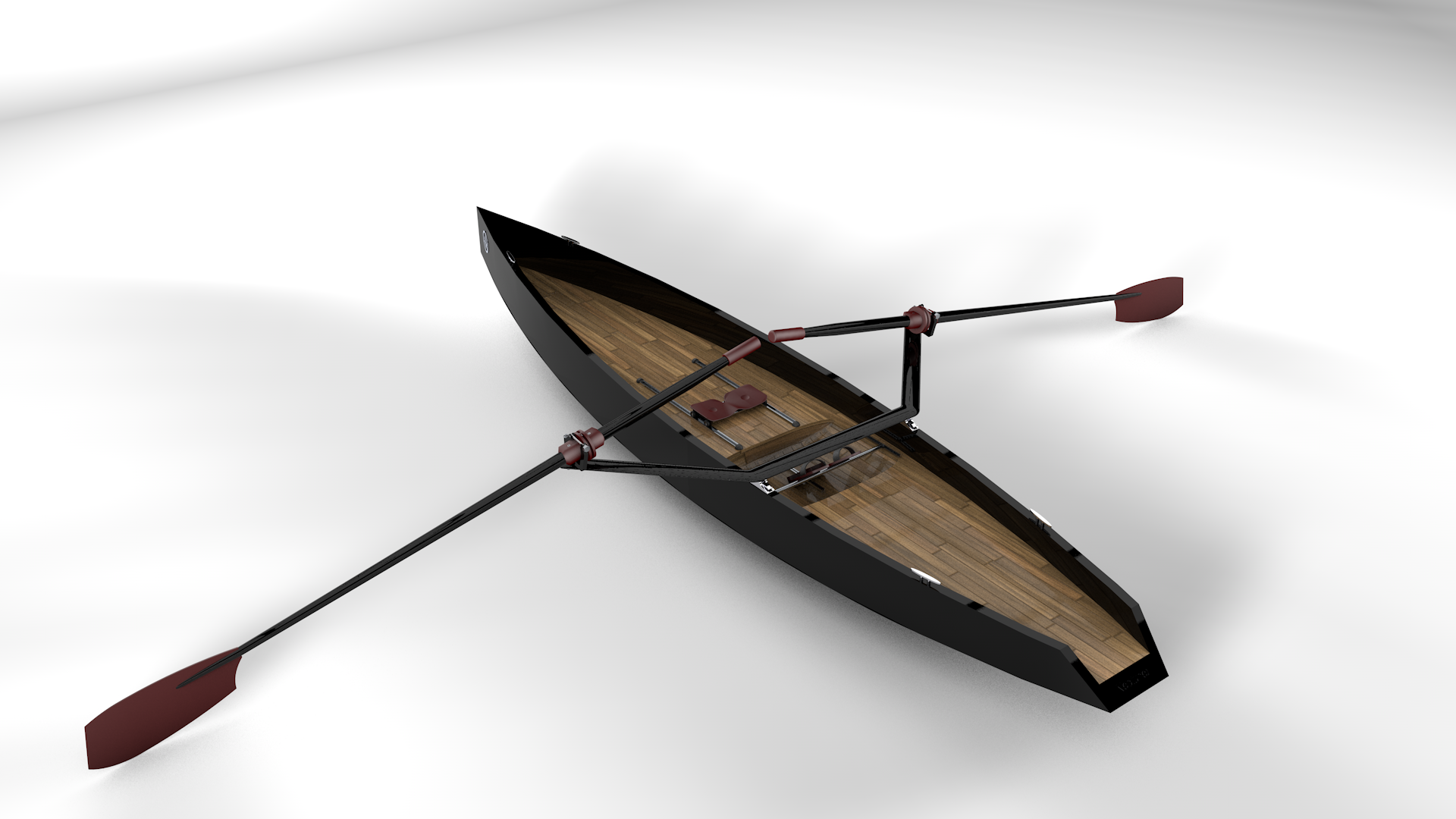 The final design of the Neptune Deluxe Black Rowboat
